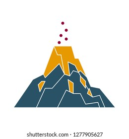 volcano icon - mountain isolated, mountain nature illustration - Vector volcano