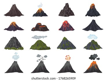 Volcano icons set. Cartoon set of volcano vector icons for web design