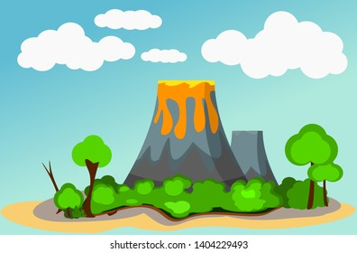 Volcano Island surrounded by blue water and sky with Hot lava on top of mountain with green tree around- Flat Vector.