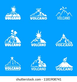 Volcano logo icons set. Simple illustration of 9 volcano logo vector icons for web