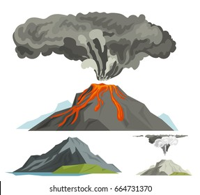 Volcano magma blowing up with smoke volcanic vector illustration