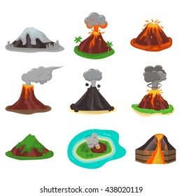Volcano magma nature blowing up with lava flowing down vector set