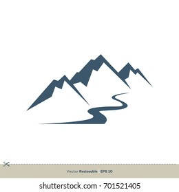 Volcano Mountain Vector Logo Template Illustration Design. Vector EPS 10.
