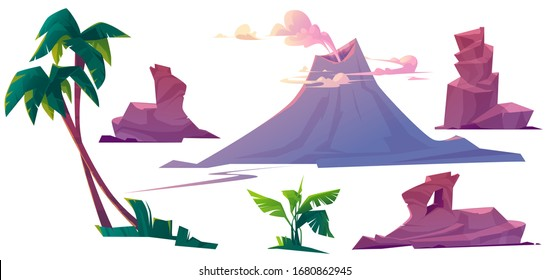 Volcano with smoke, rocks and palm trees isolated on white background. Vector cartoon set of volcanic eruption, mountain with smoking crater, tropical plants and stones