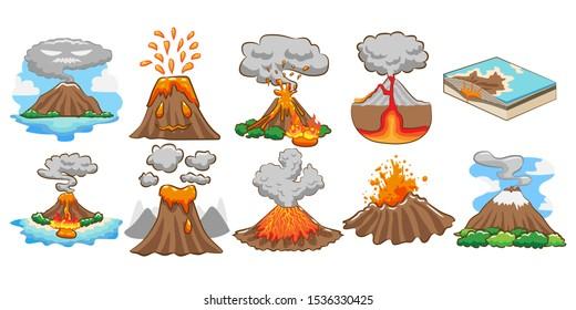 volcano vector set graphic design