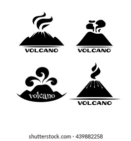 Volcano vector set. Logotypes and signs. Black and white labels with words.