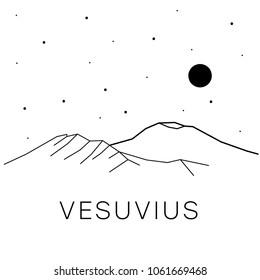 Volcano Vesuvius in Europe. Vector black and white illustration