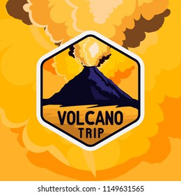 Volcano yellow sky badge with rocky shape and smoke of volcano explosion, vintage retro colored styled sticker for expeditions, events, apparel, banners etc
