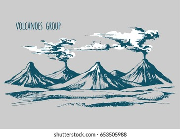 Volcanoes landscape vector sketch artist. Smoke before the eruption. Color illustration.