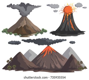 Volcanoes with magma, lava and smoke. Mountain landscapes. Vector illustration