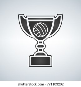 Voleyball Trophy cup, award, vector icon in flat style.