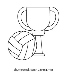 Voleyball trophy cup championship in black and white