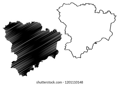 Volgograd Oblast (Russia, Subjects of the Russian Federation, Oblasts of Russia) map vector illustration, scribble sketch Stalingrad Oblast map