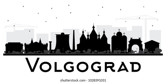Volgograd Russia City Skyline Silhouette with Black Buildings Isolated on White. Vector Illustration. Business Travel and Tourism Concept with Historic Architecture. Volgograd Cityscape with Landmarks