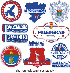 Volgograd, Russia. Set of generic stamps and signs including elements of city coat of arms and location of the city on Volgograd oblast map.
