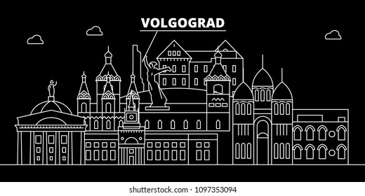 Volgograd silhouette skyline. Russia - Volgograd vector city, russian linear architecture, buildings. Volgograd travel illustration, outline landmarks. Russia flat icon, russian line banner