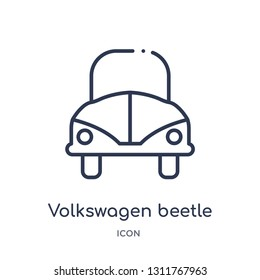 volkswagen beetle icon from world peace outline collection. Thin line volkswagen beetle icon isolated on white background.