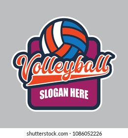 volley ball logo with text space for your slogan / tag line, vector illustration