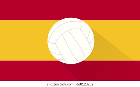 volley ball on spain flag background