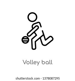 volley ball vector line icon. Simple element illustration. volley ball outline icon from people concept. Can be used for web and mobile