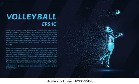 A volley of particles. Volleyball consists of dots and circles. Blue volleyball on a dark background