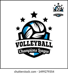 Volleyball badge champions league logo vector