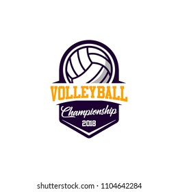 Volleyball badge design logo emblem. Sport emblem insignia templates on a light background