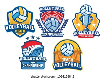volleyball badge design set