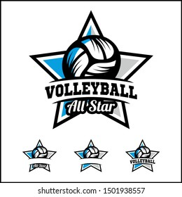 Volleyball ball all star badge logo vector