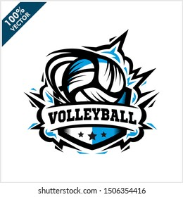 Volleyball ball badge logo vector