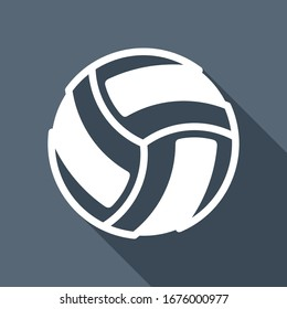 Volleyball ball, beach sport. White flat icon with long shadow on blue background