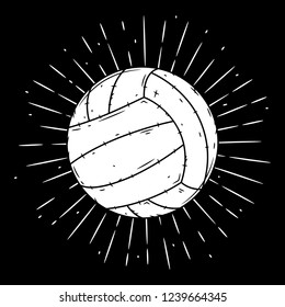 Volleyball ball. Hand drawn vector illustration with volleyball ball and divergent rays. Used for poster, banner, web, t-shirt print, bag print, badges, flyer, logo design and more.