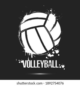 Volleyball ball icon. Abstract voolleyball ball for design logo, emblem, label, banner. Volleyball template on isolated background. Grunge style. Vector illustration