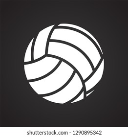 Volleyball ball icon on black background for graphic and web design, Modern simple vector sign. Internet concept. Trendy symbol for website design web button or mobile app