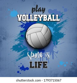 Volleyball ball icon. Play volleyball. Sport is life. Pattern for design poster, logo, emblem, label, banner, icon. Volleyball template on isolated background. Grunge style. Vector illustration