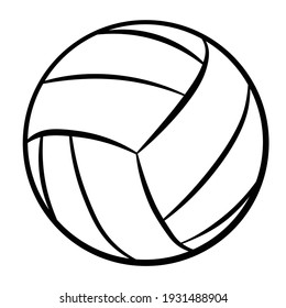Volleyball Ball Illustration (Black Outline Only) Isolated, editable