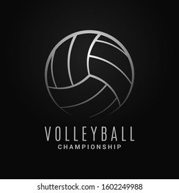 Volleyball ball logo. Volleyball championship on black background