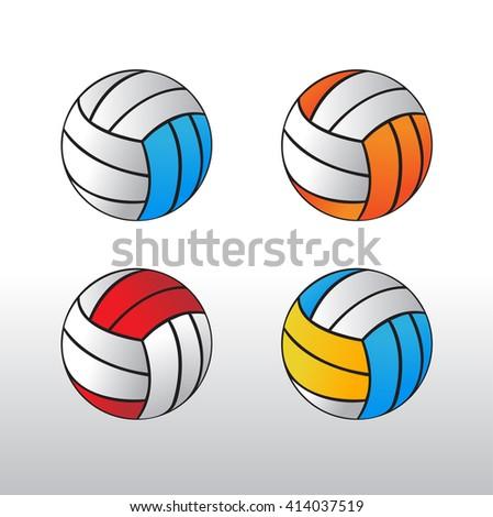 Volleyball Ball Volleyball Sign Icon Set Vector de stock (libre de ...