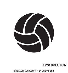 Volleyball ball solid black icon. Glyph symbol of sports and equipment. Ball game flat vector illustration.