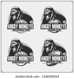 Volleyball, baseball, soccer and football logos and labels. Sport club emblems with gorilla.