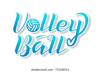Volleyball blue gradient lettering on white background, vector illustration. Volleyball calligraphy. Sport, fitness, activity vector design. Print for logo, T-shirt, flag, banner, postcards, logotype.