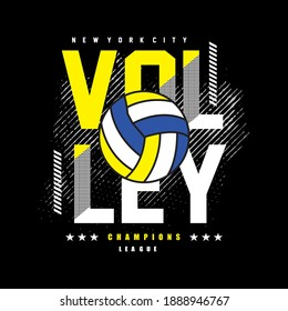 Volleyball, Champions League slogan typography graphic for print,t-shirt,athletic,art,vector illustration