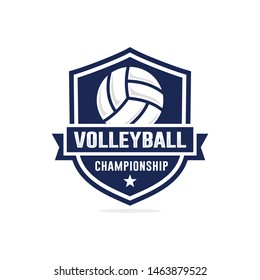 Volleyball championship logo design vector