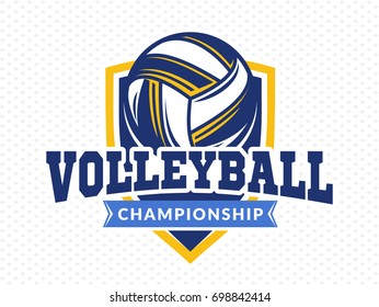 Volleyball championship logo, emblem, icons, designs templates with volleyball ball and shield on a light background