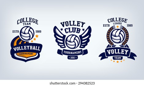 volleyball club emblem, college league logo,  design template element, volleyball tournament.