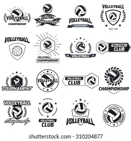 Volleyball club labels with sample text. Logo templates set in vintage hipster style. Vintage badges for volleyball championships, tournaments, and golf clubs