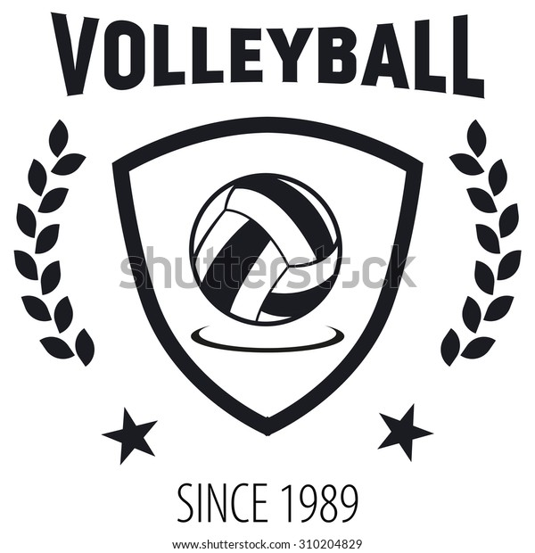 Volleyball Club Labels Sample Text Logo Stock Vector (Royalty Free