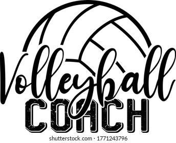 Volleyball coach quote. Volleyball ball vector