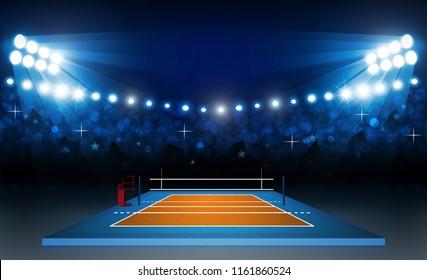 Volleyball court arena field with bright stadium lights design. Vector illumination