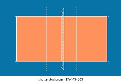 volleyball court top view vector illustration